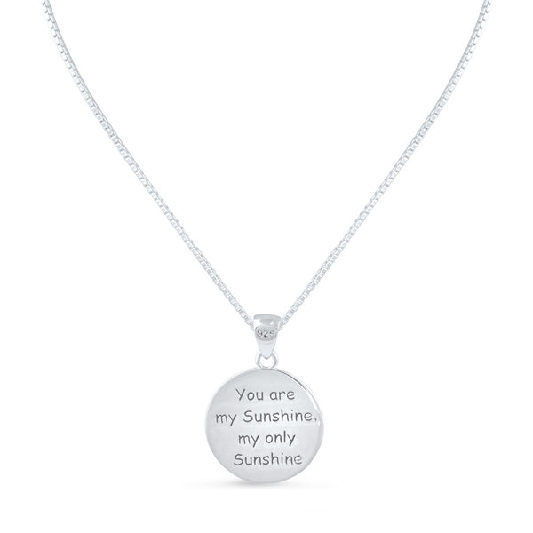 "Sterling Silver ""You are my Sunshine my only Sunshine"" Necklace Small (18"" chain included) - SilverCloseOut - 2"