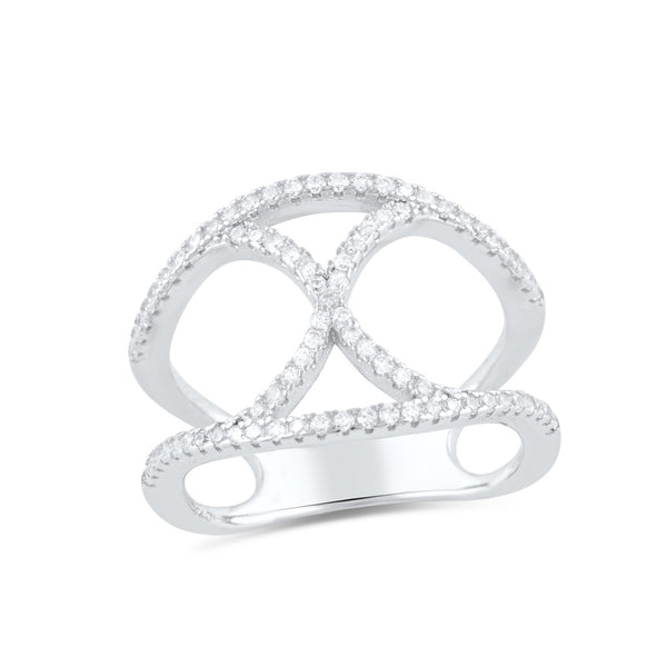 Sterling Silver Cz Infinity X Statement Ring - SilverCloseOut - 2