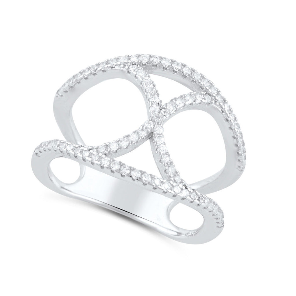 Sterling Silver Cz Infinity X Statement Ring - SilverCloseOut - 1
