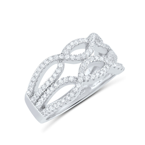 Sterling Silver Cz Double Twisted Braid Ring - SilverCloseOut - 2
