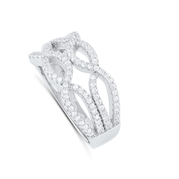 Sterling Silver Cz Double Twisted Braid Ring - SilverCloseOut - 3