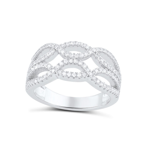 Sterling Silver Cz Double Twisted Braid Ring - SilverCloseOut - 1