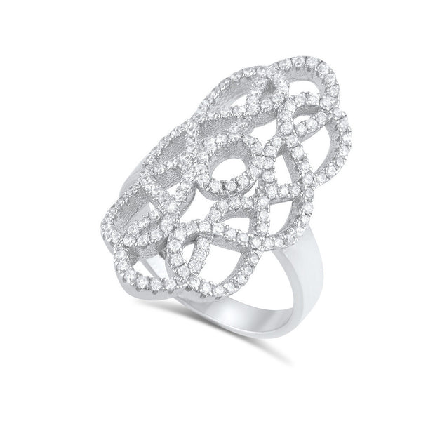 Sterling Silver Cz Filigree Armour Statement Ring - SilverCloseOut - 1