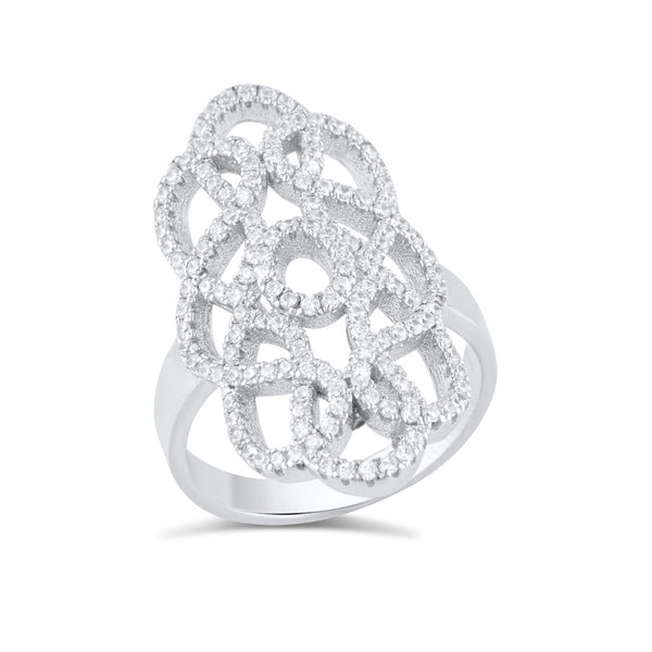 Sterling Silver Cz Filigree Armour Statement Ring - SilverCloseOut - 3