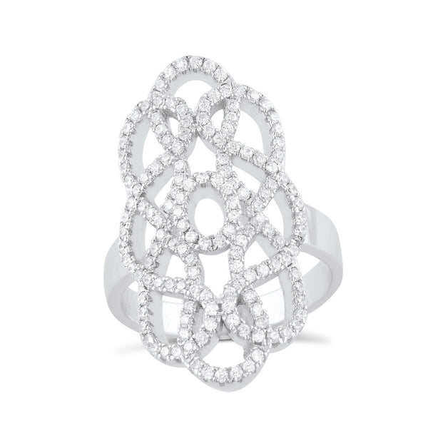 Sterling Silver Cz Filigree Armour Statement Ring - SilverCloseOut - 2