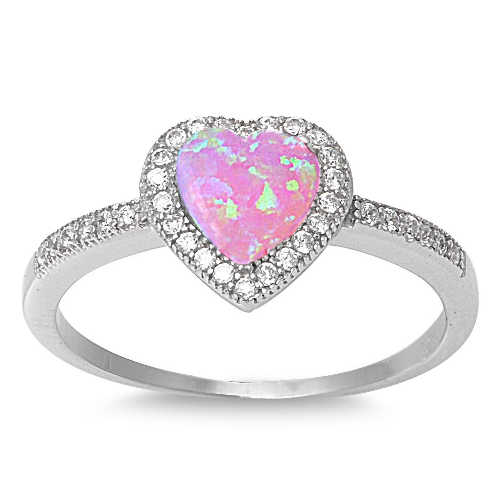 Sterling Silver Micro Pave Halo Created Pink Opal Heart Ring - SilverCloseOut - 1