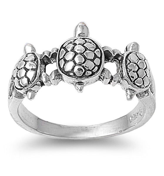 Sterling Silver 10mm Turtles Ring - SilverCloseOut - 1