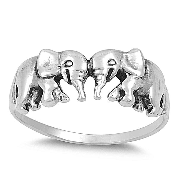 Sterling Silver Lucky Elephants Ring 7mm - SilverCloseOut - 1