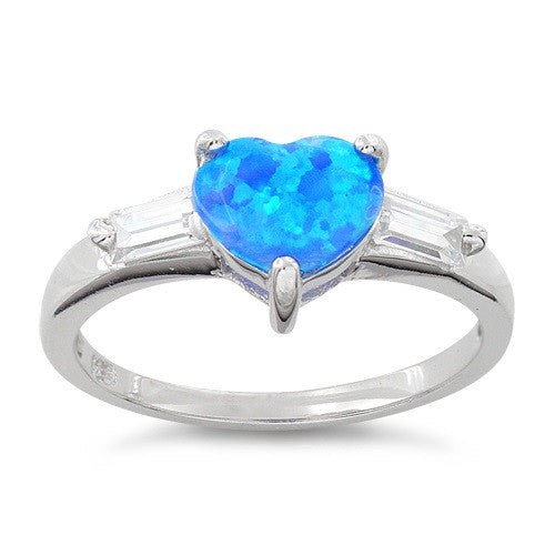 Sterling Silver Created Blue Opal Heart Ring - SilverCloseOut - 2