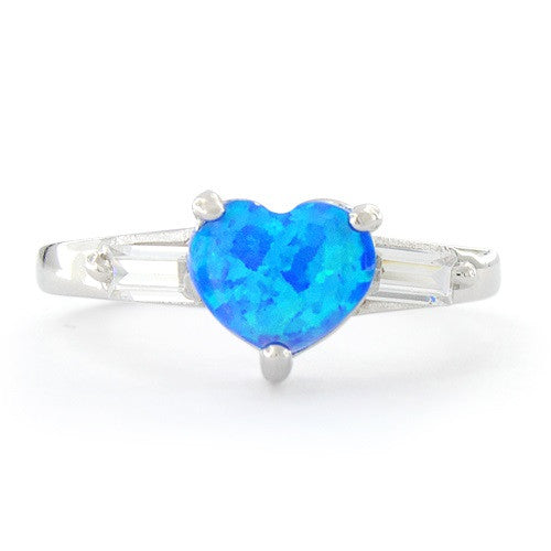 Sterling Silver Created Blue Opal Heart Ring - SilverCloseOut - 3