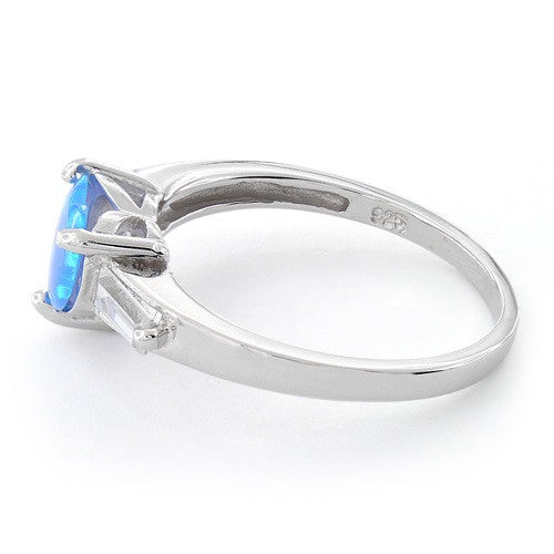 Sterling Silver Created Blue Opal Heart Ring - SilverCloseOut - 4