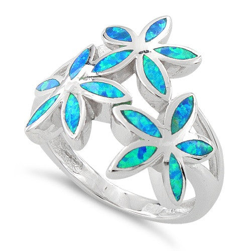 Sterling Silver Created Blue Opal Daisy Flower Ring - SilverCloseOut - 1