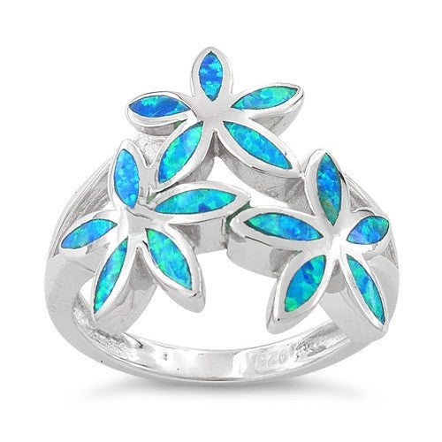 Sterling Silver Created Blue Opal Daisy Flower Ring - SilverCloseOut - 2