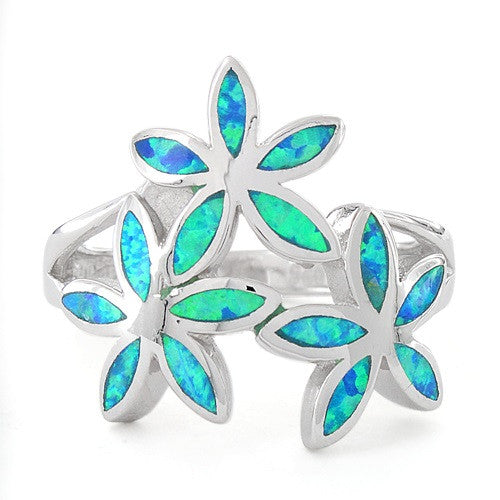 Sterling Silver Created Blue Opal Daisy Flower Ring - SilverCloseOut - 3