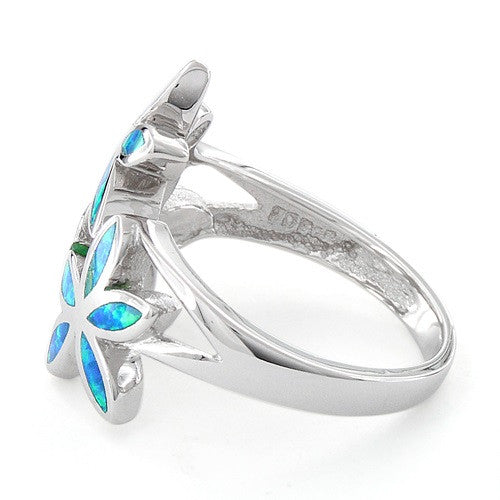 Sterling Silver Created Blue Opal Daisy Flower Ring - SilverCloseOut - 4