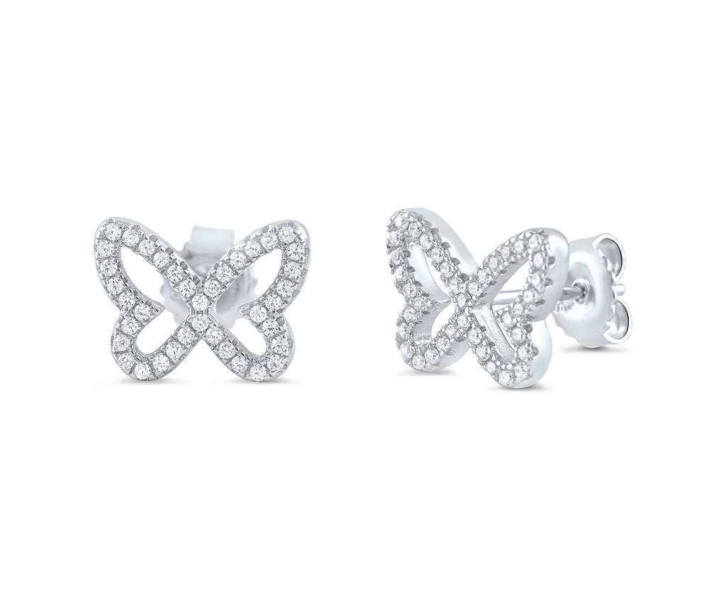 Sterling Silver Cz Butterfly Stud Earrings - SilverCloseOut - 1
