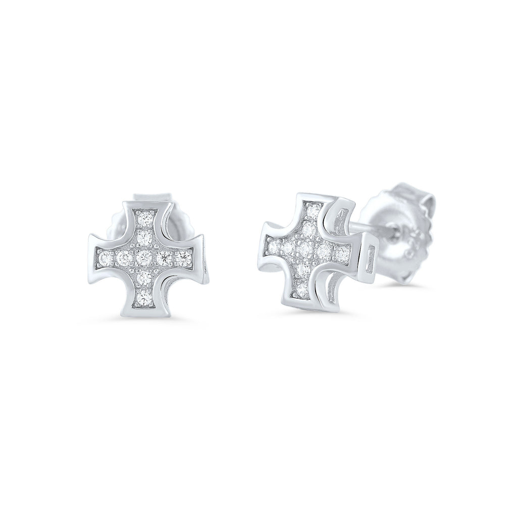 Sterling Silver Cz Iron Cross Stud Earrings - SilverCloseOut - 1