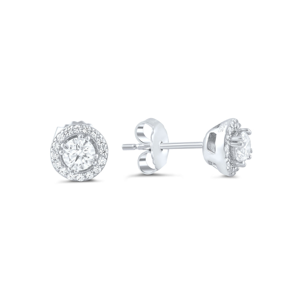 Sterling Silver Cz Round Halo Stud Earrings - SilverCloseOut - 1