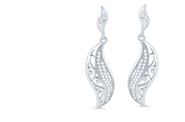 Sterling Silver Cz Abstract Leaf Dangle Earrings - 7mm - SilverCloseOut - 1