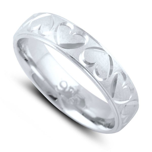 Sterling Silver Diamond Cut Heart Wedding Band - SilverCloseOut - 1