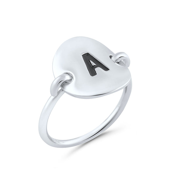 Sterling Silver Oval Initial A Ring - SilverCloseOut - 2