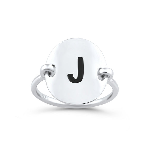 Sterling Silver Oval Initial J Ring - SilverCloseOut - 1