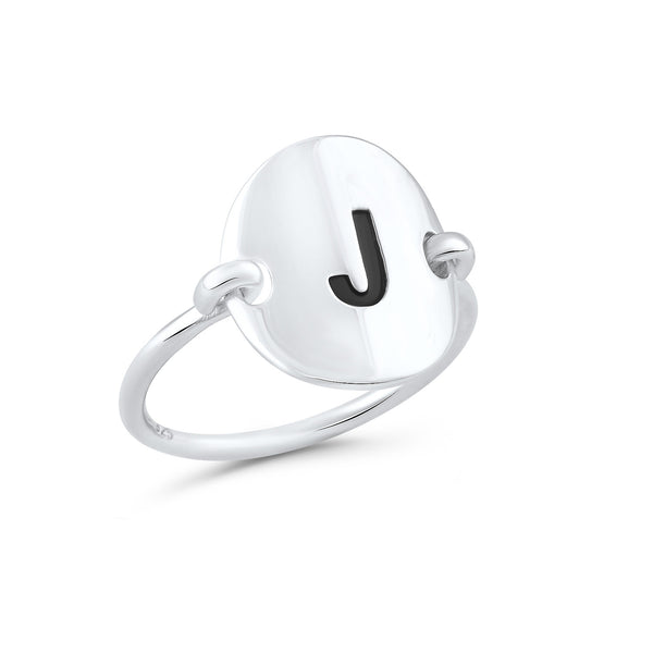Sterling Silver Oval Initial J Ring - SilverCloseOut - 2