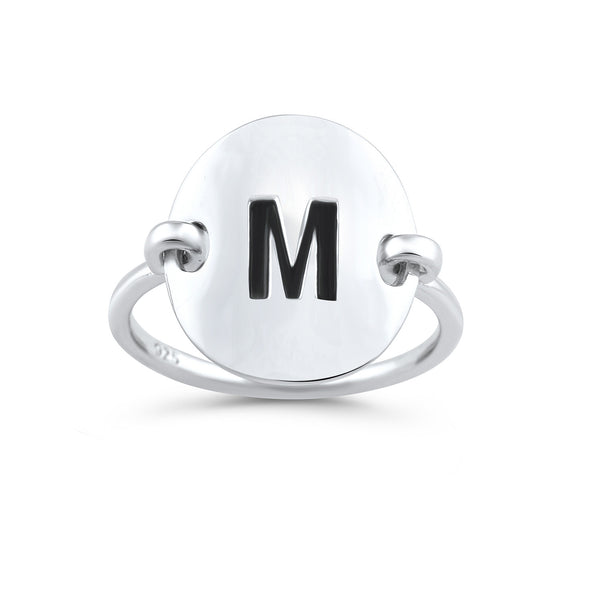 Sterling Silver Oval Initial M Ring - SilverCloseOut - 1