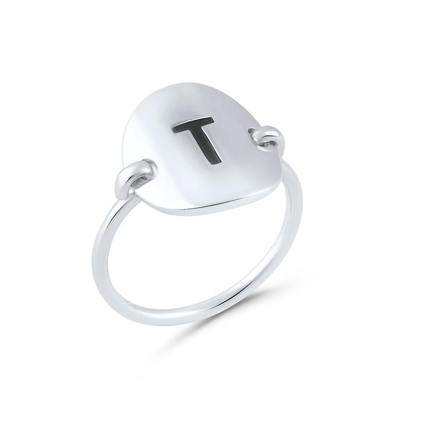 Sterling Silver Oval Initial T Ring - SilverCloseOut - 2