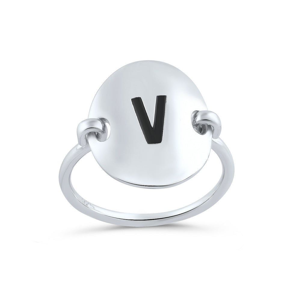 Sterling Silver Oval Initial V Ring - SilverCloseOut - 1