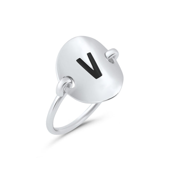 Sterling Silver Oval Initial V Ring - SilverCloseOut - 2
