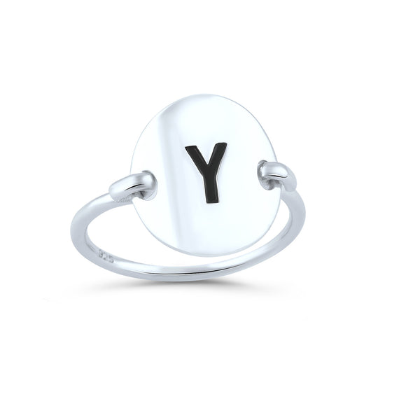 Sterling Silver Oval Initial Y Ring - SilverCloseOut - 1