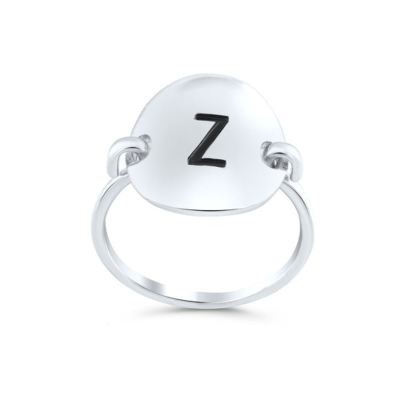 Sterling Silver Oval Initial Z Ring - SilverCloseOut - 1