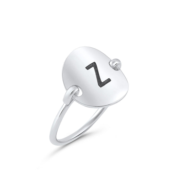 Sterling Silver Oval Initial Z Ring - SilverCloseOut - 2