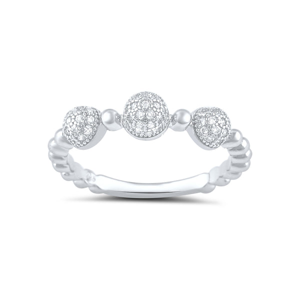 Sterling Silver Cz Thin Domed Stackable Ring - SilverCloseOut - 2