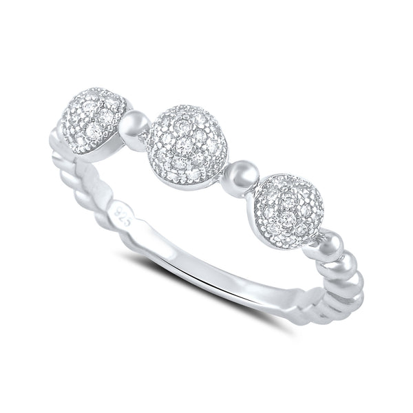 Sterling Silver Cz Thin Domed Stackable Ring - SilverCloseOut - 1