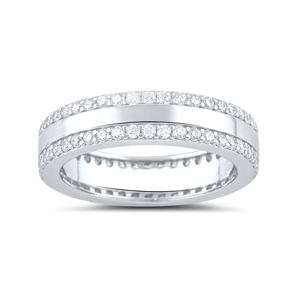 Sterling Silver Simulated Diamond Striped Eternity Ring - SilverCloseOut - 2