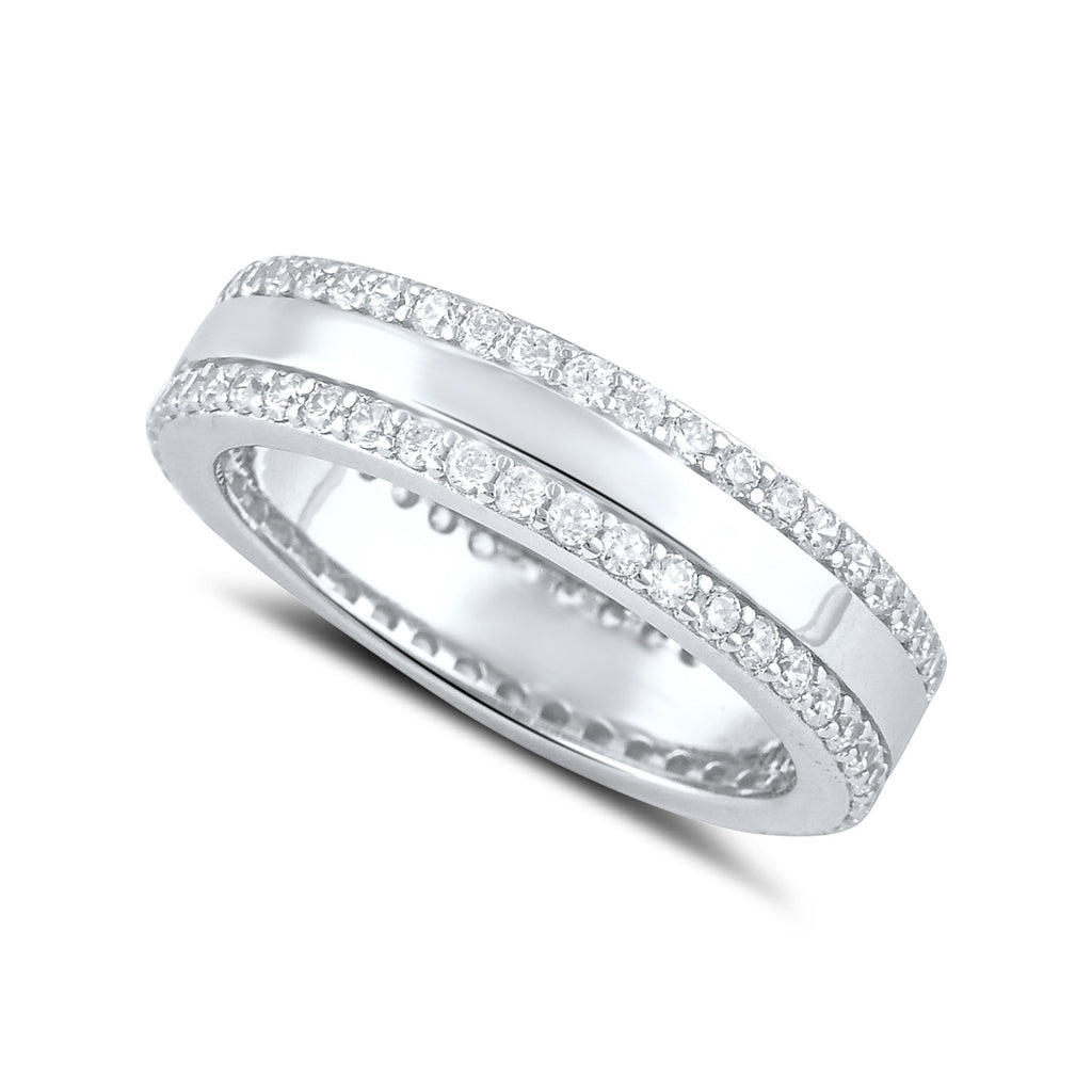 Sterling Silver Simulated Diamond Striped Eternity Ring - SilverCloseOut - 1