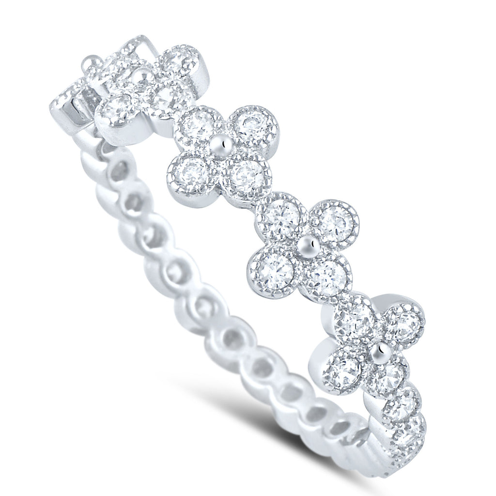 Sterling Silver Simulated Diamond Thin Cross Ring - SilverCloseOut - 1