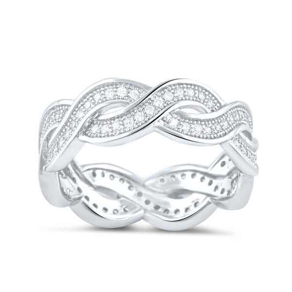 Sterling Silver Simulated Diamond Twisted Eternity Ring - SilverCloseOut - 2