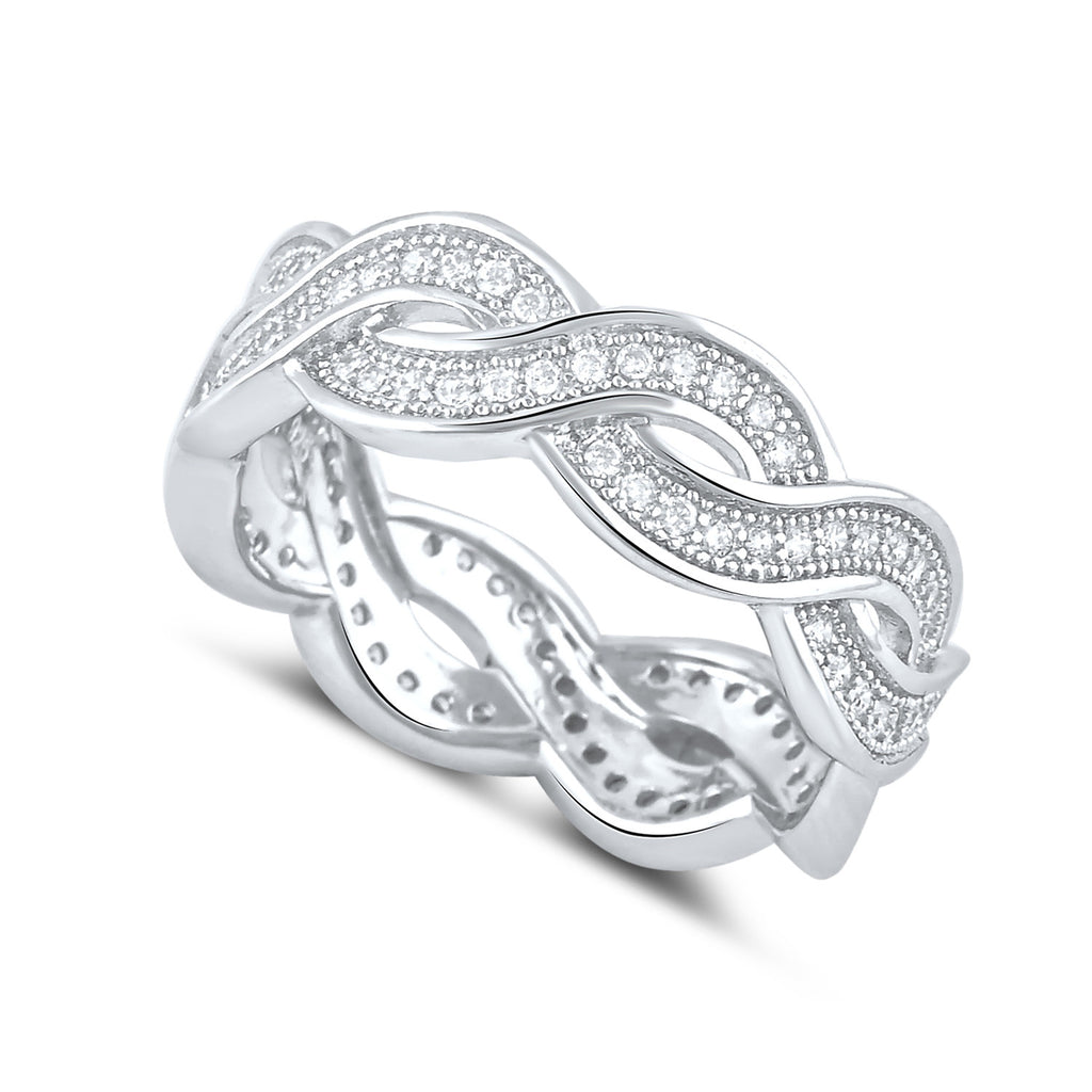 Sterling Silver Simulated Diamond Twisted Eternity Ring - SilverCloseOut - 1