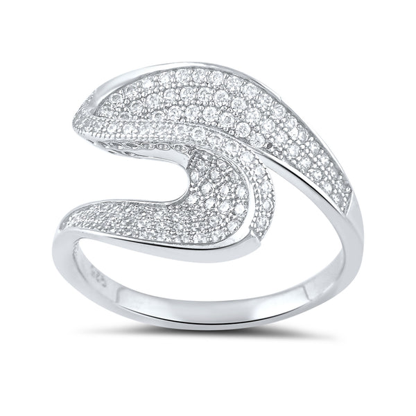 Sterling Silver Simulated Diamond Twist Statement Ring - SilverCloseOut - 2
