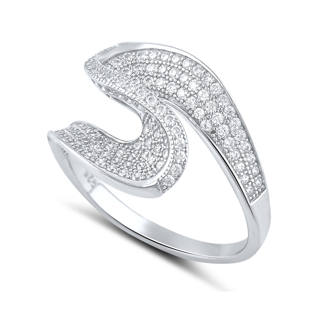 Sterling Silver Simulated Diamond Twist Statement Ring - SilverCloseOut - 1