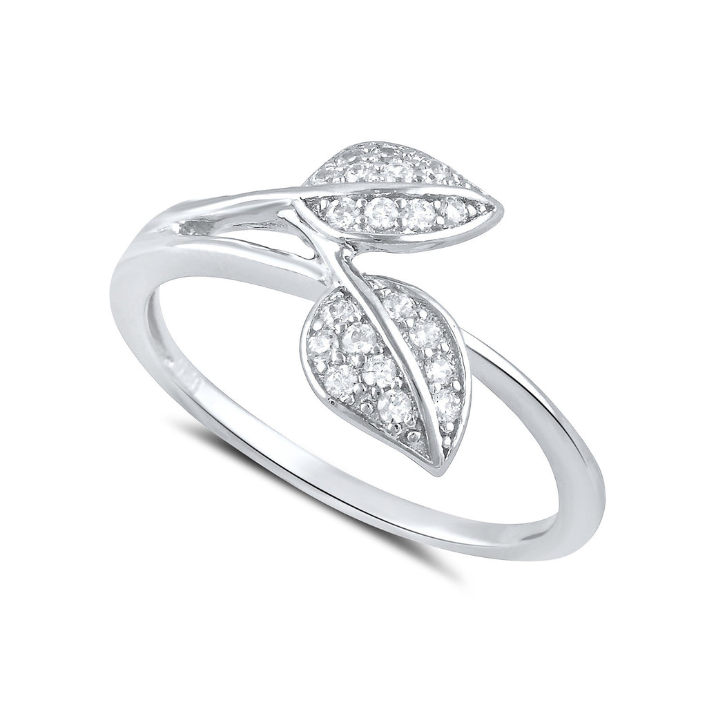 Sterling Silver Simulated Diamond Leaf Ring - SilverCloseOut - 1
