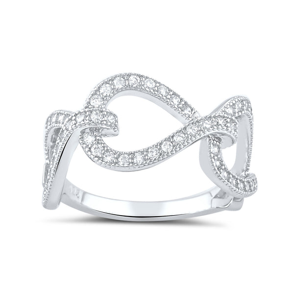 Sterling Silver Simulated Diamond Twisted Chain Link Ring - SilverCloseOut - 2