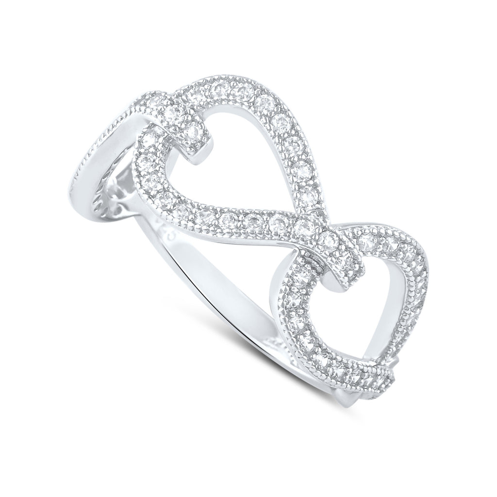 Sterling Silver Simulated Diamond Twisted Chain Link Ring - SilverCloseOut - 1