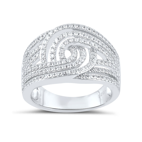 Sterling Silver Simulated Diamond Swirl Ring - SilverCloseOut - 2