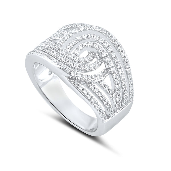 Sterling Silver Simulated Diamond Swirl Ring - SilverCloseOut - 1