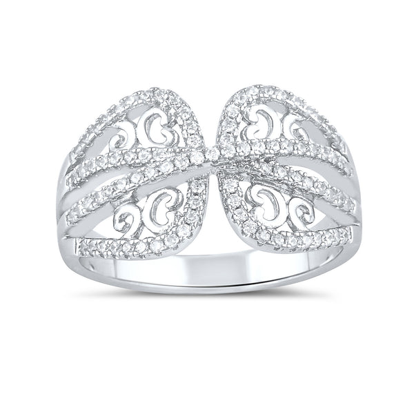 Sterling Silver Simulated Diamond Wrap Ring - SilverCloseOut - 2