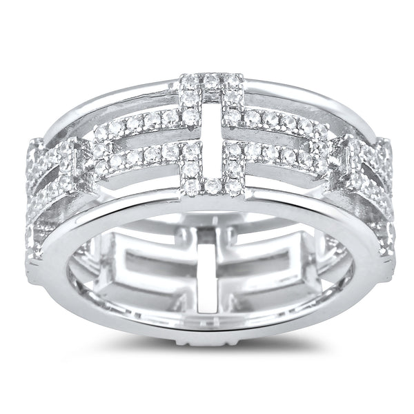 Sterling Silver Cross Eternity Cz Ring - SilverCloseOut - 2
